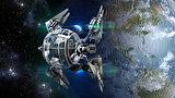 Drone-like spaceship pod leaving Earth