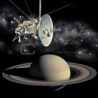 Cassini mission orbiter closing Saturn