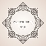 Intricate star floral vector frame
