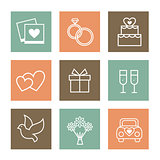 Vector set of valentines day illustrations and banners in retro colors.