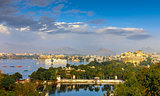 Panoramic view of Udaipur, Lake Pichola and City Palace - Rajast