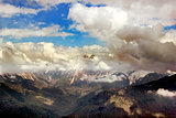Mountain Peak with mist and clouds landscape