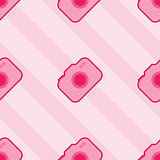 Seamless Pink Toy Camera Pattern