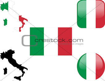 flag, buttons and map of italy