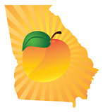 Georgia State with Peach Color Illustration
