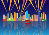 Hong Kong City Skyline Night Color Panorama Illustration
