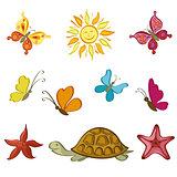 Sun, Butterflies, Turtle and Starfish