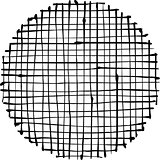 circular liquid black stripe grid pattern over white