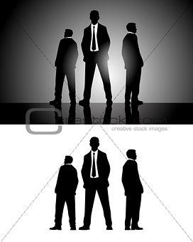 Three businessmen silhouettes