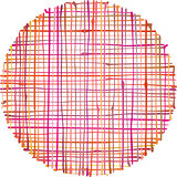 circular hand-drawn liquid pink orange stripe grid pattern over