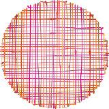 circular hand-drawn liquid pink orange stripe grid pattern over
