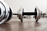 dumbbells in room