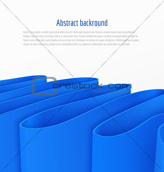 Abstract 3d blue paper ribbon background