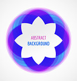 Abstract white floral banner on blue circle background