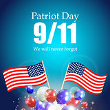 Patriot Day the 11/9 Label, We Will Never Forget  Vector Illustr