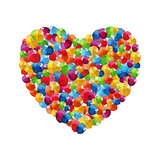 Color Glossy Balloons Heart Background Vector Illustration
