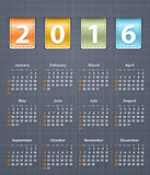 Stylish calendar for 2016 on linen texture with leather insertio