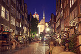 Street of Gdansk Old Town at Night