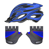 Blue Helmet and Gloves