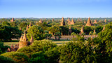 Colorful sunset landscape view with old temples, Bagan, Myanmar