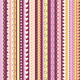 Decorative seamless pattern with  vertical stripes and hearts