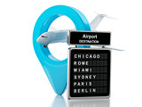 3d airport board and airplane. Travel concept