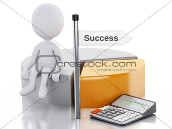 3d business people with pie chart graph and office calculator