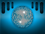 Disco ball over blue brushed metallic panel