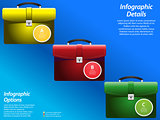 Infographic with briefcase on blue background