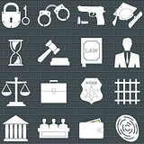 Set of law and justice flat icons