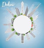 Dubai City skyline with grey skyscrapers, blue sky and copy spac