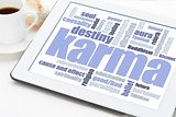 karma word cloud on tablet