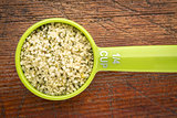 measuring scoop of hemp seed