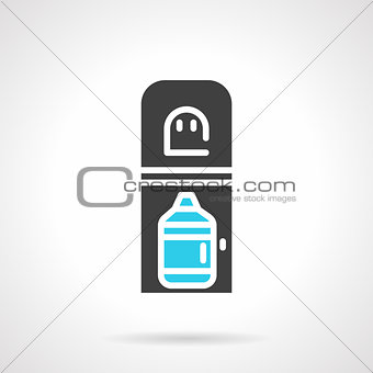Black cooler with bottle flat vector icon