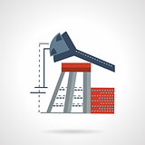 Oil pump jack flat vector icon
