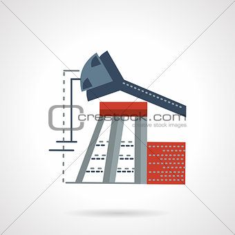 Oil pump jack flat vector icon