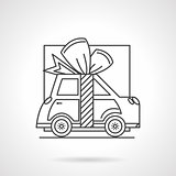 Gift car line vector icon