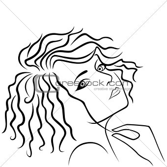Abstract girl holding hair strand