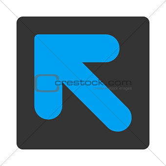 Arrow Up Left flat blue and gray colors rounded button