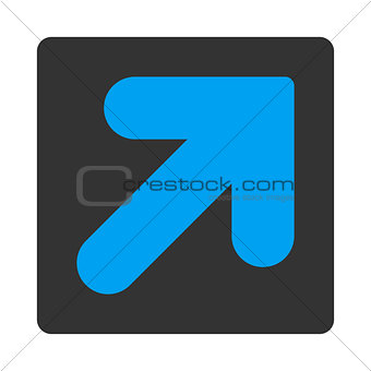 Arrow Up Right flat blue and gray colors rounded button