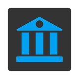 Bank flat blue and gray colors rounded button