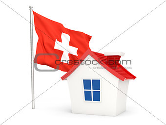 House with flag of switzerland
