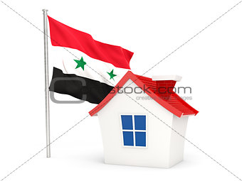 House with flag of syria