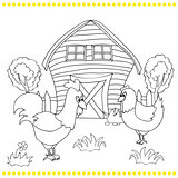 Rooster and chickens on the bacgroung of rural landscape