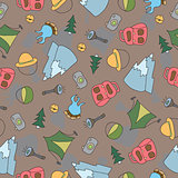 Vector seamless pattern of Camping Elements