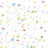 Bright shiny confetti on white background