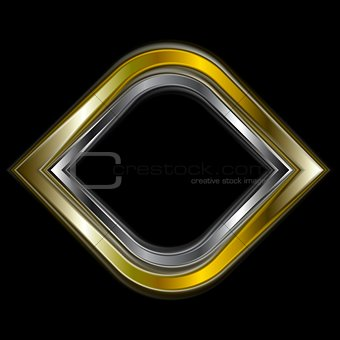 Bright gold and silver metal logo shape