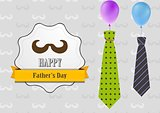 Father's Day retro vintage background with ties and balloons
