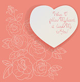 Vintage card roses bouquet romantic quotes