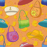 Seamless background, handbags and hats
